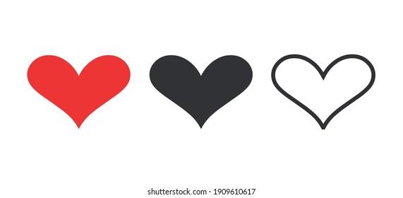 Heart symbol set. Simple heart shape vector illustration.