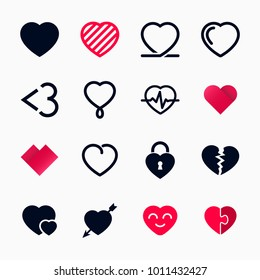 Heart symbol set for Valentines Day. Vector illustration