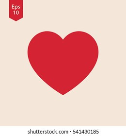 Heart Symbol. Simple Flat Icon. Sign In Vector Illustration
