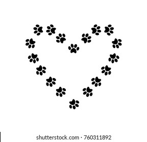 Heart symbol with space for text  made of animal paw prints isolated on white background.  Vector illustration, template, symbol, sign, clip art.