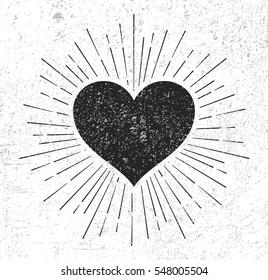 Heart symbol with sunburst on grunge background