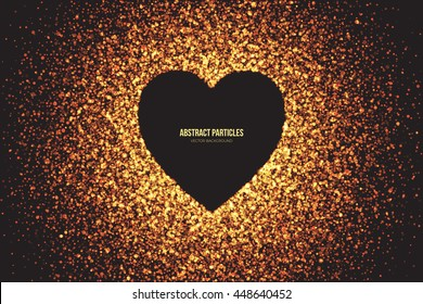 Heart symbol vector background. Abstract bright golden shimmer glowing round particles. Burning sparks. Scatter shine tinsel light explosion effect. Celebration, holidays, party illustration