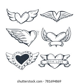 Heart Symbol with wings . love symbol
