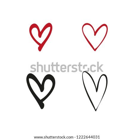 Heart Symbols Love Icon Handmade Draw Stock Vector Royalty Free