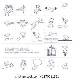 Heart tales volume 1, Vector concept illustrations set of heart in different funny situations | multicolor flat design linear icons set and infographic red and blue on white background