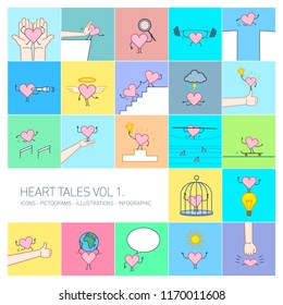 Heart tales volume 1, Vector concept illustrations set of heart in different funny situations | multicolor flat design linear icons set and infographic on colorful background