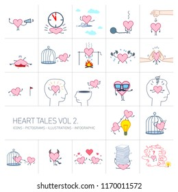 Heart tales volume 2, Vector concept illustrations set of heart in different funny situations | multicolor flat design linear icons set and infographic colorful on white background