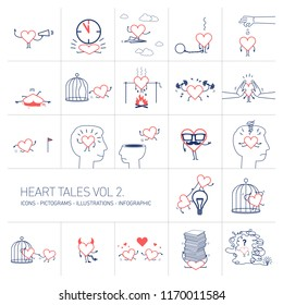 Heart tales volume 2, Vector concept illustrations set of heart in different funny situations | multicolor flat design linear icons set and infographic red and blue on white background