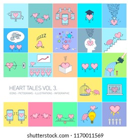 Heart tales volume 3, Vector concept illustrations set of heart in different funny situations | multicolor flat design linear icons set and infographic on colorful background