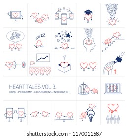 Heart tales volume 3, Vector concept illustrations set of heart in different funny situations | multicolor flat design linear icons set and infographic red and blue on white background