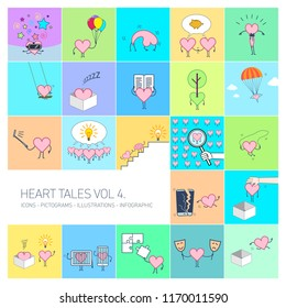 Heart tales volume 4, Vector concept illustrations set of heart in different funny situations | multicolor flat design linear icons set and infographic on colorful background