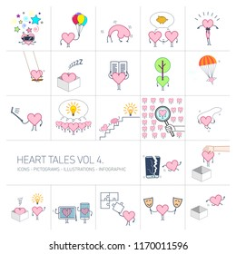 Heart tales volume 4, Vector concept illustrations set of heart in different funny situations | multicolor flat design linear icons set and infographic colorful on white background