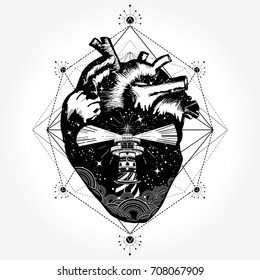 Heart tattoo and t-shirt design. Symbol of travel and love vector