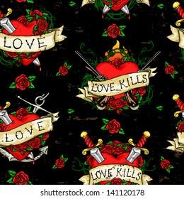 Heart Tattoos pattern, Grunge background