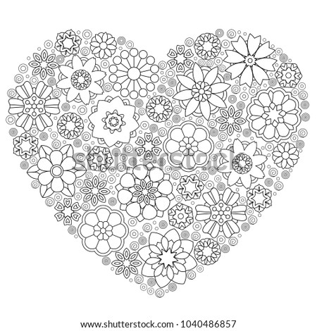 heart template abstract lace floral pattern stock vector royalty