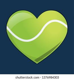 heart with tennis ball  for loving tennis sport concept vector symbol illustration