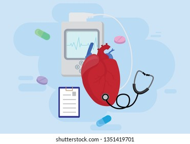 Heart test or Cardiology diagnostics concept.Vector design with human heart, holter monitor, stethoscope and pills on blue background.
