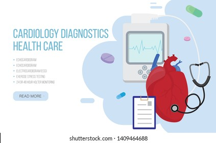 Heart tests or Cardiology diagnostics concept.Vector design with human heart, holter monitor, stethoscope and pills on blue backround.Cardiology diagnostics site landing page
