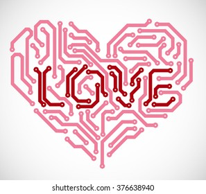 Heart with text love made from printed circuit board