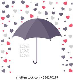 Heart texture. Set hearts. Romantic card. A rain of heart. Romantic Umbrella. Love