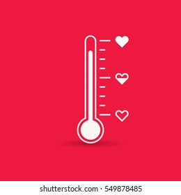 Heart thermometer icon. Love card. Vector