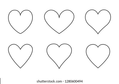 Heart thin line icons set isolated on white background. Modern collection of different linear hearts for web site, love logo and Valentine's day. Creative art concept, outline vector illustration