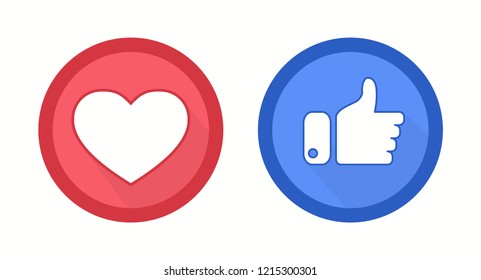 Heart and thumbs up flat style logos isolated on a white. Vector illustration