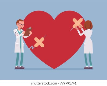 Heart treatment by doctors. People doing cardiac surgery, correct problems, prevent infarction or attack. Medicine, healthcare concept. Vector flat style cartoon illustration isolated, blue background