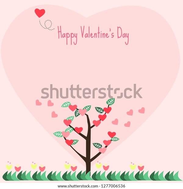 Heart Tree Happy Valentines Day Text Stock Vector Royalty Free 1277006536