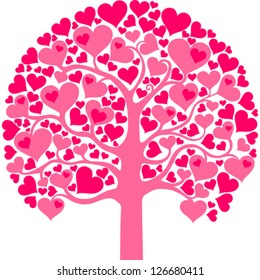 Heart tree with heart leaf  isolated on White background. Vector illustration