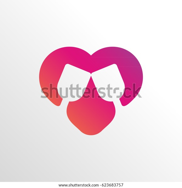 heart with two glass of wine