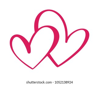 Heart two love sign. Icon on white background. Romantic symbol linked, join, passion and wedding. Template for t shirt, card, poster. Design flat element of valentine day. Vector illustration