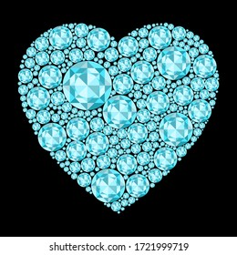 Heart of unique gemstones of blue color. A heart filled with jewels of a delicate blue color. Vector illustration. Stock Photo.