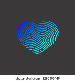 Heart with unique imprint, scanning icon, recognition,  element of logo, heart with fingerprint, print. Vector illustration