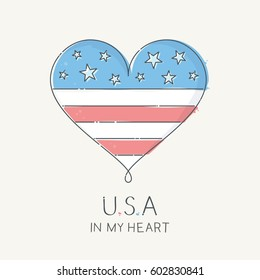 Heart with United States of America flag, vector illustration in scribble linework style