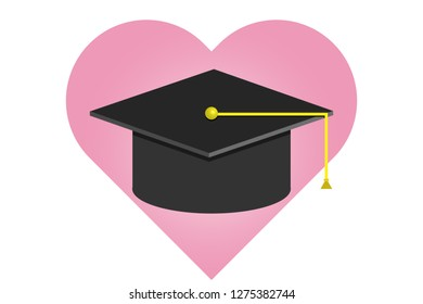 Heart with a university hat.