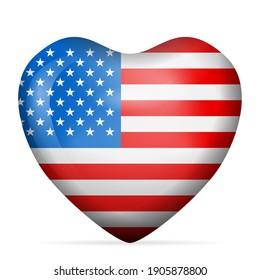 Heart USA flag on a white background. Vector illustration.