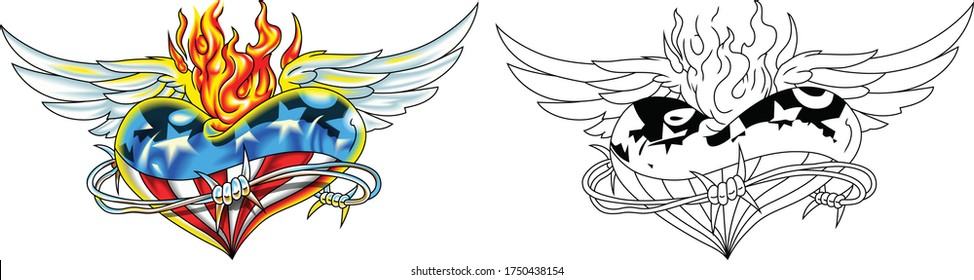 Heart with usa flag, wings and fire with barbed wire. Symbols of America. Vector image
