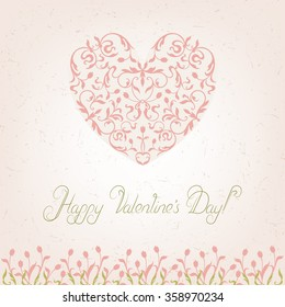 Heart Valentine's day card with tulips.