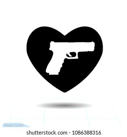 Heart vector black icon, Love symbol. Pistol Gun in heart. Valentines day sign, emblem, Flat style for graphic and web design, logo.