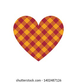 Heart vector with gingham / vichy check plaid pattern in bright red and yellow isolated on white background.