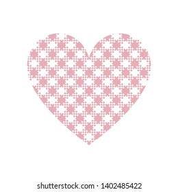 Heart vector graphic with gingham / vichy check plaid pattern in pink and white isolated on white background.