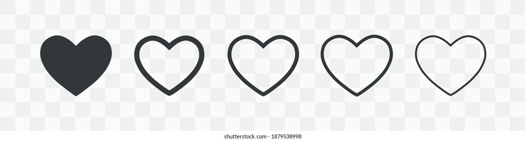 Heart vector icons. Gray hearts in the transparent background. Vector illustration.