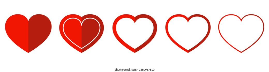 Heart vector icons. Vector illustration. Concept of love. Set of red love symbols on white background.