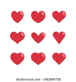 Heart vector icons, love symbol collection. Hearts silhouettes.