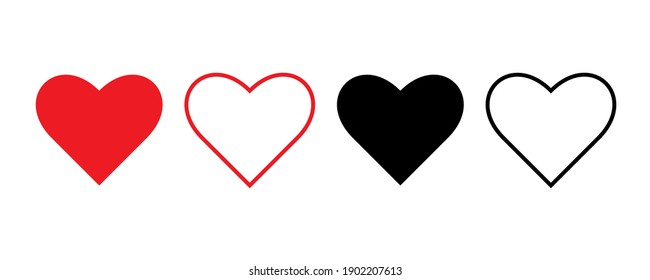 Heart vector icons on white background. love symbol isolated