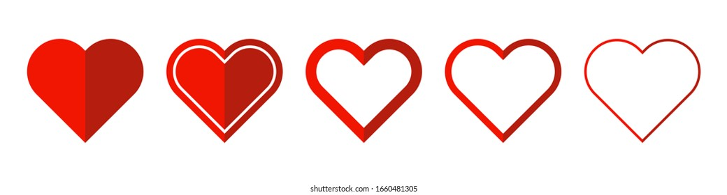 Heart vector icons. Set of red love symbols on white background. Vector illustration. Concept of love