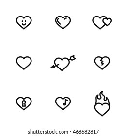 Heart vector icons. Simple illustration set of 9 heart elements, editable icons, can be used in logo, UI and web design