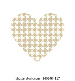 Heart vector illustration with gold and white gingham / vichy check plaid pattern isolated on white background.