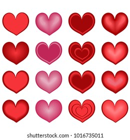Heart. Vector set of hearts for design, congratulations, Valentines, declarations of love, a gift from the heart.